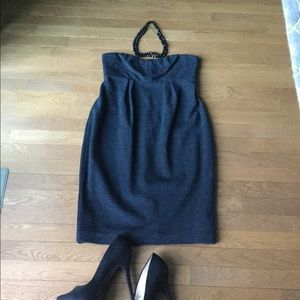 Banana Republic Charcoal Grey Wool Strapless Dress